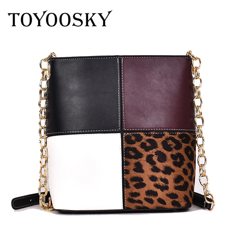 TOYOOSKY Retro Fashion Female Bucket bag 2018 New Quality PU Leather Women bag Patchwork Leopard Tote bag Lock Shoulder Messenge free shipping fashion new handbags high quality pu leather women bag british retro bucket bag lock chain shoulder female bag