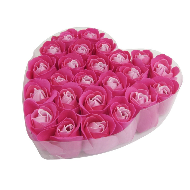 24 Pcs Red Rose Scented Bath Soap Rose Petal In Heart Box