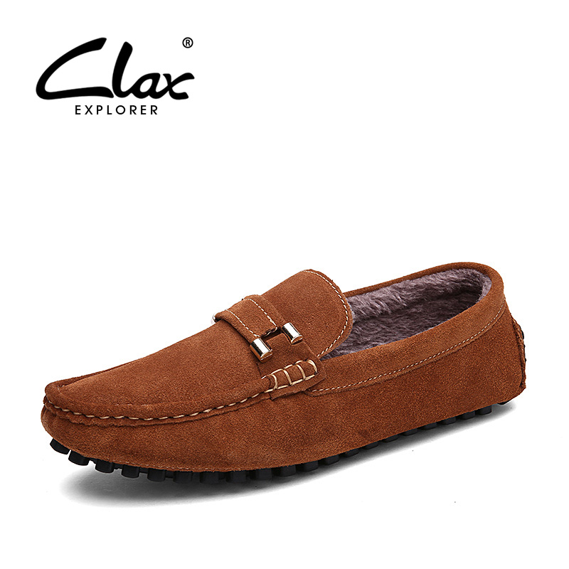 CLAX Men Boat Shoe Plush Fur Warm Casual Leather Footwear Winter Loafers Male Suede Leather Shoes Slip on Soft Comfortable vesonal 2017 quality mocassin male brand genuine leather casual shoes men loafers breathable ons soft walking boat man footwear