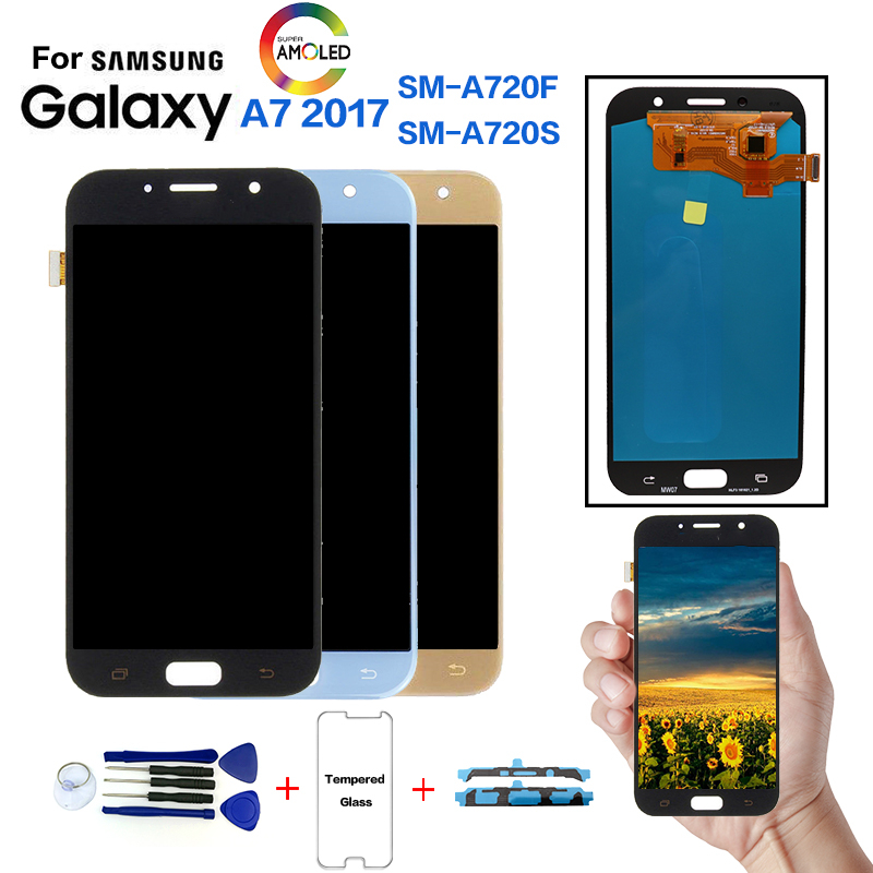 For <font><b>Samsung</b></font> Galaxy A7 2017 <font><b>A720</b></font> SM-A720F Display <font><b>lcd</b></font> Screen replacement for <font><b>Samsung</b></font> A7 2017 SM-A720S <font><b>lcd</b></font> display screen module image