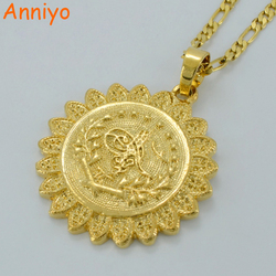Anniyo Turkish Coin Necklace for Women/Me Gold Color Arab Jewelry Turks Model #044506