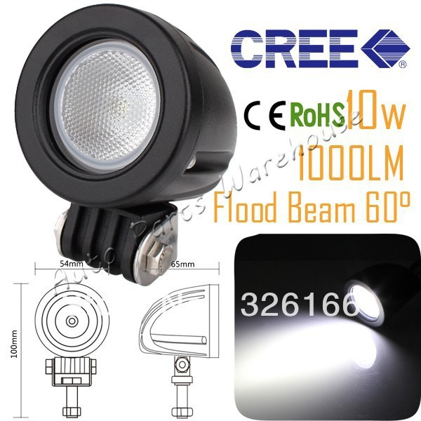 Super Bright Cree 10W Round Led WorkLight Flood Beam Ip67 12V24V Offroad Lamp Mining Boat Bicycle Car Truck 4wd 4x4