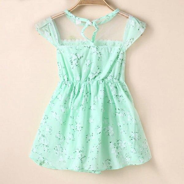 Красивое платье принцессы 5 размеров с кружевом и цветочным принтом нарядное летнее платье для 1-5 лет