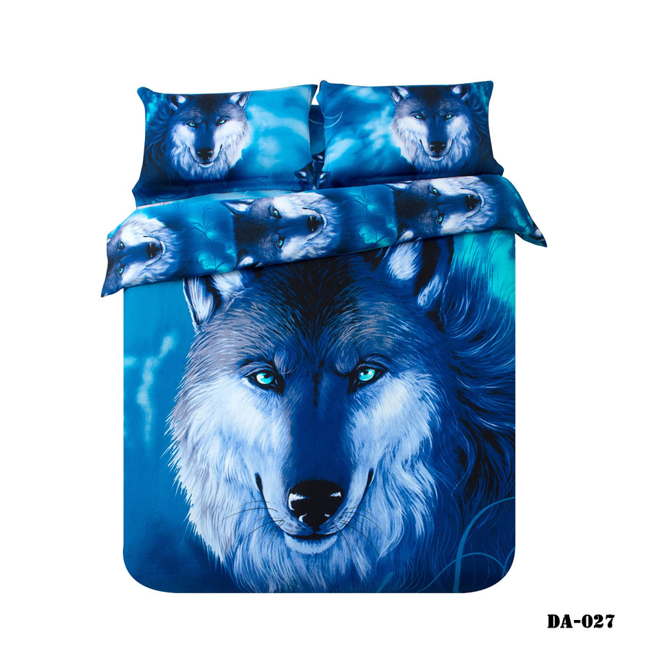 3 7 piece 100 organic cotton 3d wolf print bed sheets california king bedding set blue animal wolf bed linen fitted sheet set in bedding sets from home