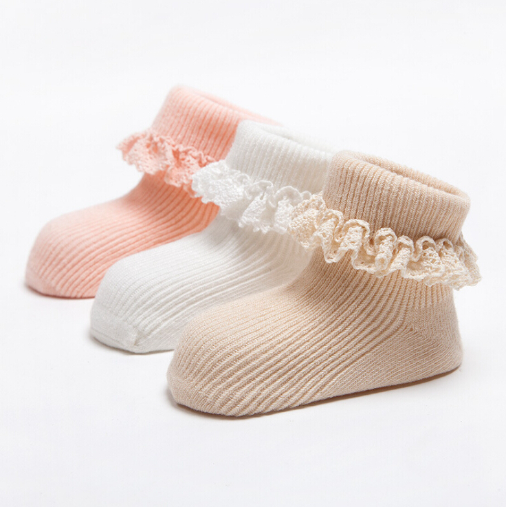 Spring And Autumn Cotton 100% Laciness Baby 100% Slip-resistant Socks Cotton Baby Socks Female Child Needle Solid Color Princess