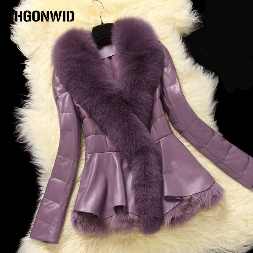 Winter Real Fur Coat Women Sheepskin Genuine Leather Jacket with Large Fox Fur Collar Sk ...