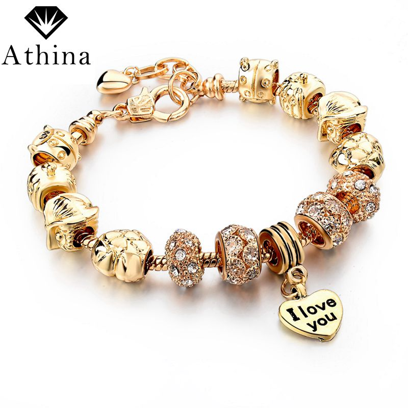 2016 New Fashion Gold Heart Charm Bracelets & Bangles Crystal Chain Bracelets For Women Pulsera DIY Jewelry Gifts SBR140695