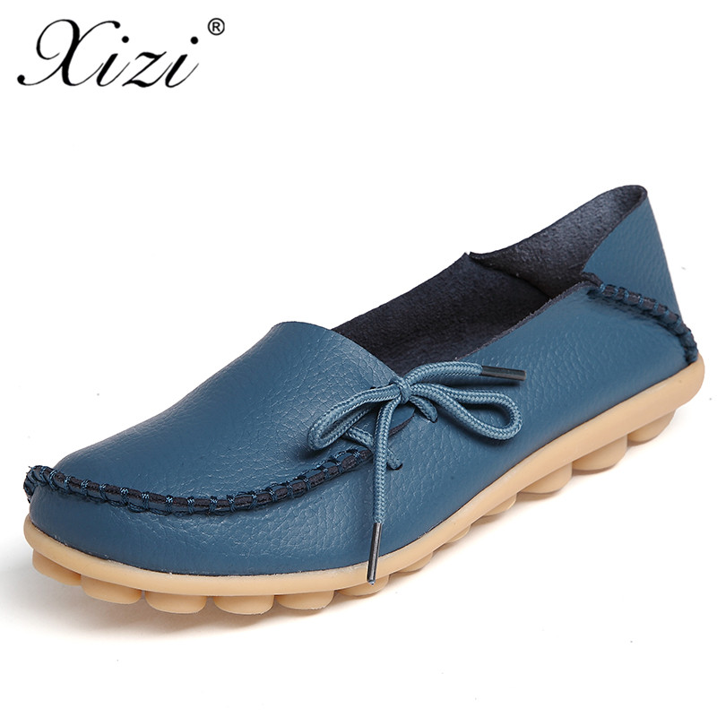 XIZI Women Genuine Leather Shoes ladies Spring Fashion Sweet Lace-up Casual Flat Shoes Women Peas Outdoor Shoes Plus Size 35-44 hellyhansen women s outdoor casual shoes leather shoes flat shoes