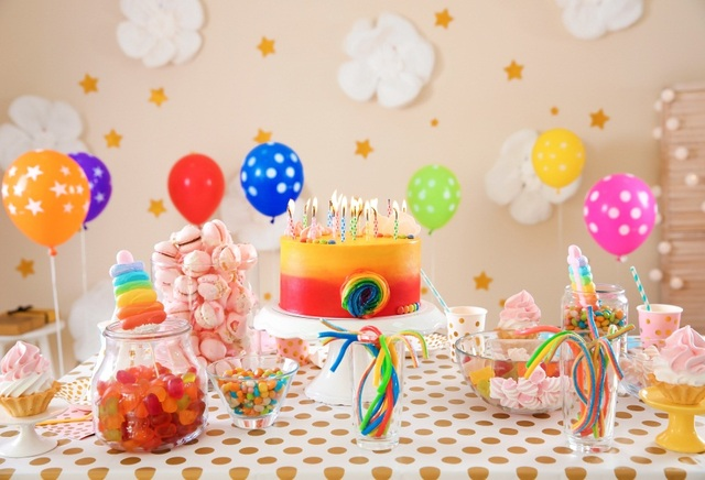 Laeacco Balloon Baby Birthday Cake Dessert Candy Bar Flower Party Photographic Background Photography Backdrops For Photo