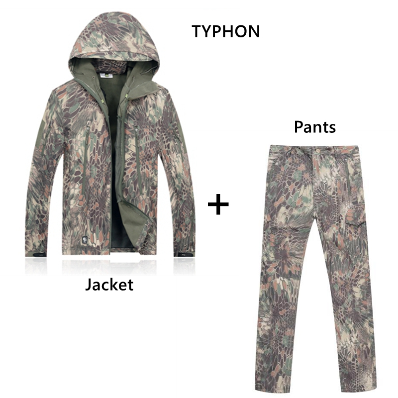 TYPHON Tactical Combat Uniform Jacket Pants Kryptek Suit Airsoft Hiking Camping Hunting Gear Set 11 Color For Chooseen python grain pythons grain cotton padded jacket camouflage hunting jacket mens tactical airsoft paintball camping hiking