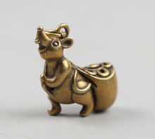 34MM/1.3Collect Curio Rare China Fengshui Small Bronze Animal 12 Zodiac Year Mouse Carry Fund Sources Wealth Pendant Statue 22g