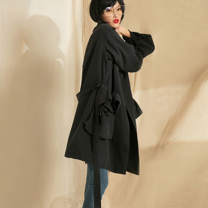 Vintage Aa556 Black Taille Printemps Mode Manches Nouveau eam Patchwork Revers Poches Manteau Lâche Femmes Coupe À vent 2019 Longues Réglable Uzw7qxH