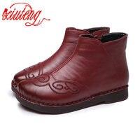 Xiuteng Women Retro Fashion Handmade Ankle Boots Genuine Leather Flat Boots Comfort Soft bottom Female Casual Shoes Women Shoe