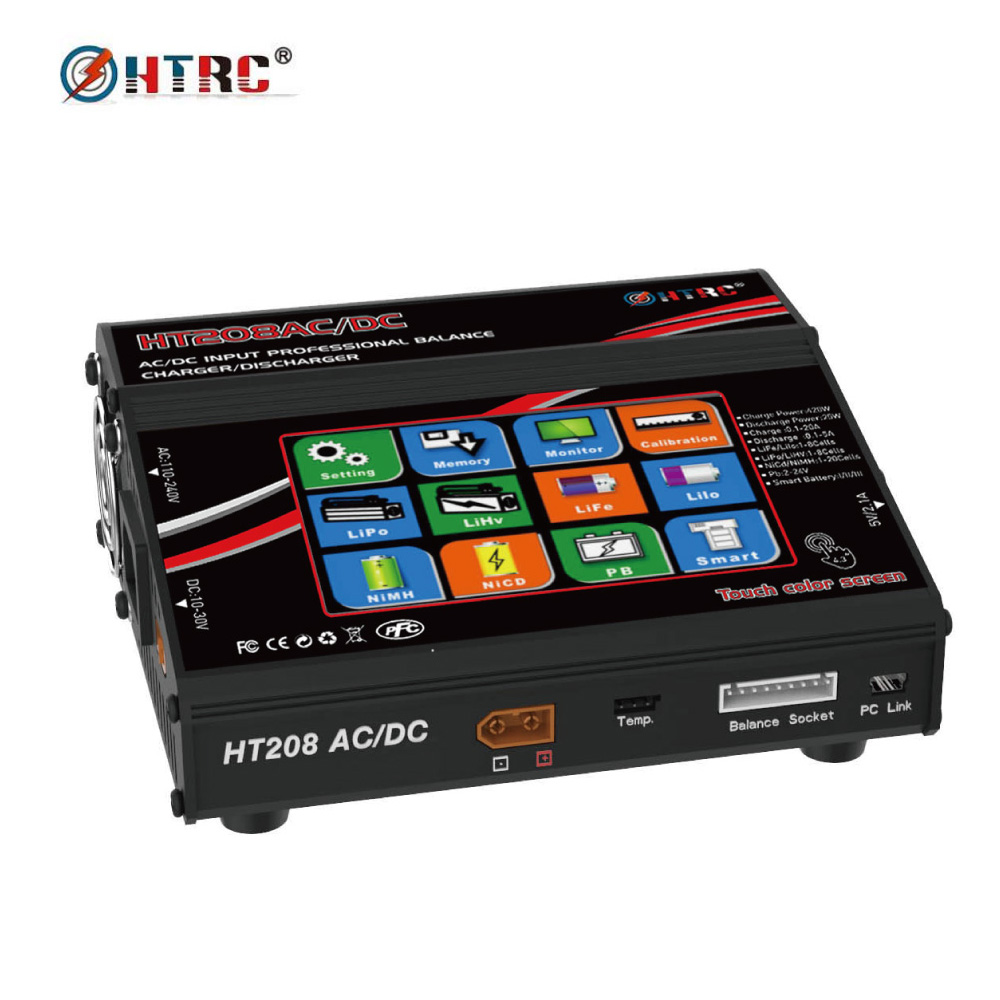 HTRC HT208 AC/DC 4.3Color LCD Touch Screen 420W 20A RC Battery Balance Charger/Discharger for 1-8s Lilon/LiPo/LiFe/LiHV Battery