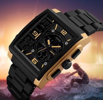Relojes de lujo militares para hombre SKMEI 1274, relojes de pulsera digitales casuales de acero inoxidable, reloj electrónico deportivo cuadrado