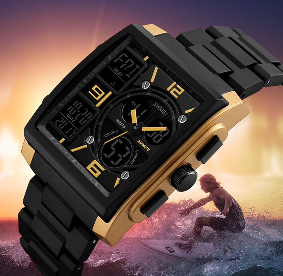 SKMEI 1274 Luxury Military Mens Watches Stainless Steel Casual Digital Wristwatches Square Sport Electronic Relogio Masculino