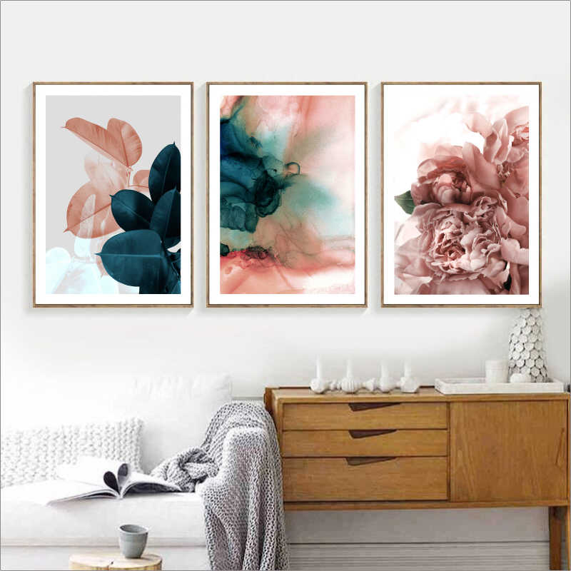 جدار صور لغرفة المعيشة ورقة كوادروس صورة الشمال المشارك الأزهار الرسم على لوحات القماش الجدارية النباتية الملصقات والمطبوعات