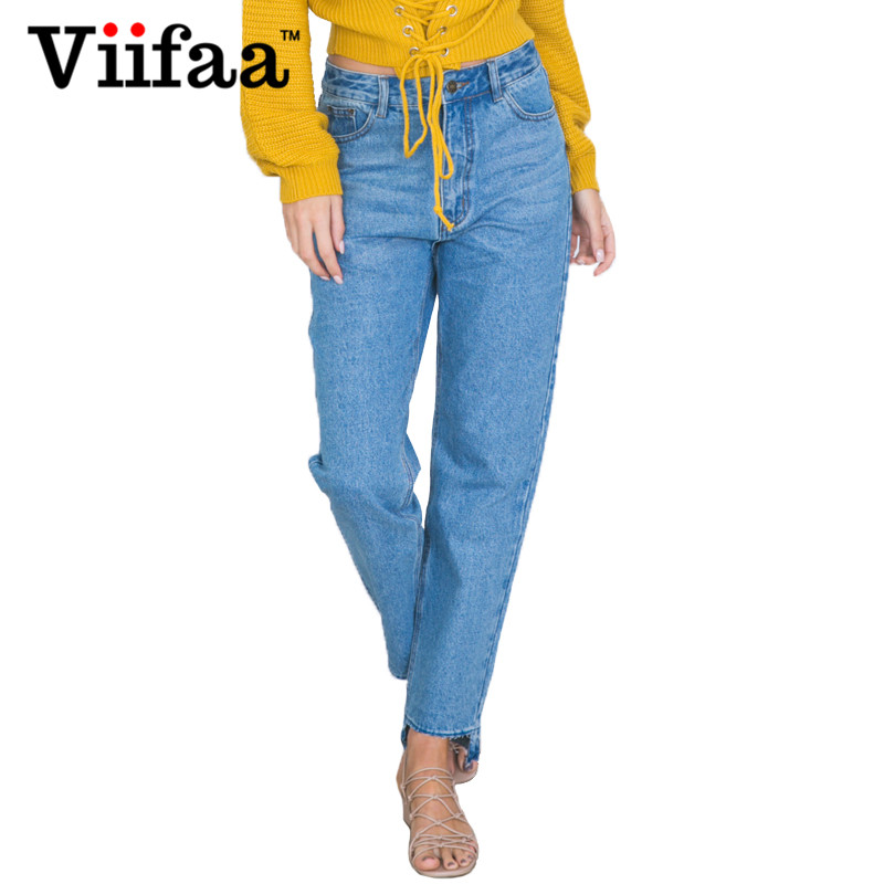 Viifaa Women Denim Jeans Woman Cut Off Pants Jean Femme Ladies Loose Straight Blue Long Trousers Jeans women girls casual vintage wash straight leg denim overall suspender jean trousers pants dark blue