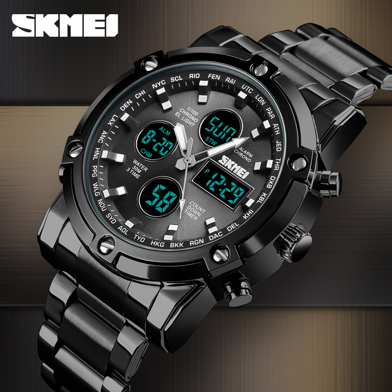 <font><b>SKMEI</b></font> Luxury Quartz Watch Men Fashion Sport Wrist Watch Waterproof Stainless Steel Strap Mens Watches Clock Relogio Masculino image