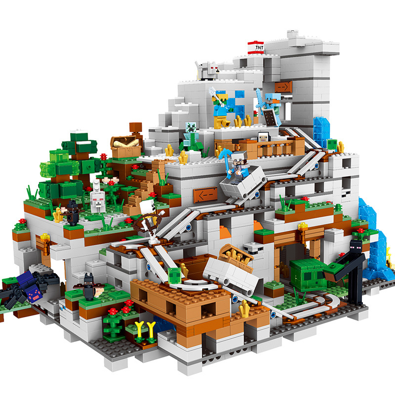 2888+pcs MY WORLD The Mountain Authority Cave Compatible Legoinglys Minecrafted Figures City Building Blocks Bricks Sets my world figures toy building blocks compatible with legoinglys minecrafted city 4 in 1 diy garden bricks toy gift for kid