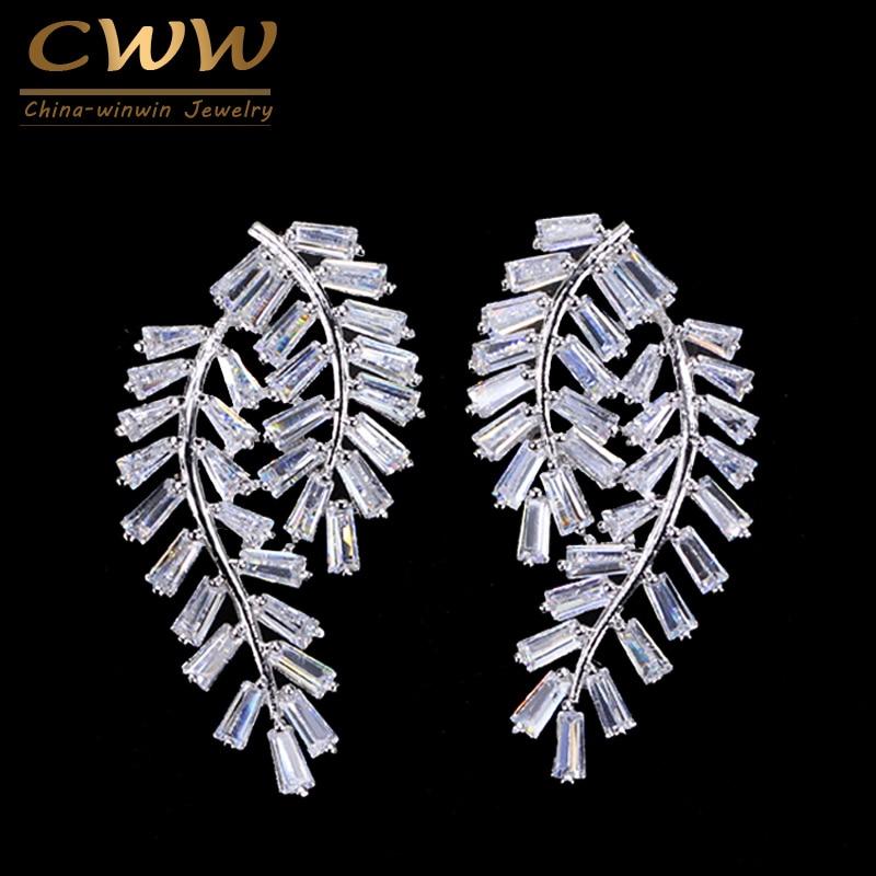 CWWZircons Brand Elegant Design Leaf Shape Square Cubic Zirconia Stone 925 Sterling Silver Women Stud Earrings CZ238 exquisite elegant style rhinestone embellished square shape women s stud earrings