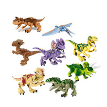 1/Set ZM307 Jurassic Dinosaur Rex Dilophosaurus Velociraptor Tyrannosaurus Building Blocks Learning Figure toys for children wiben jurassic tyrannosaurus rex t rex dinosaur toys action figure animal model collection learning