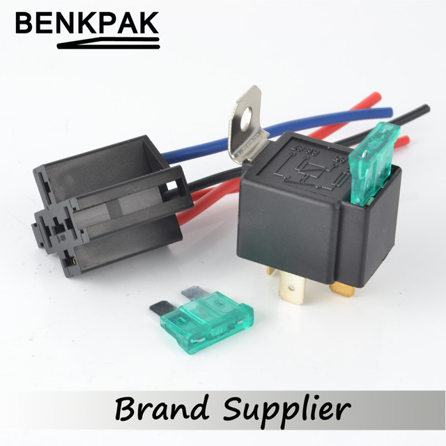 30A DC12V Pre Wired 4 Pin Relay Mounting Base Auto Relay Socket Holder With 2pcs 30A Medium Fuse