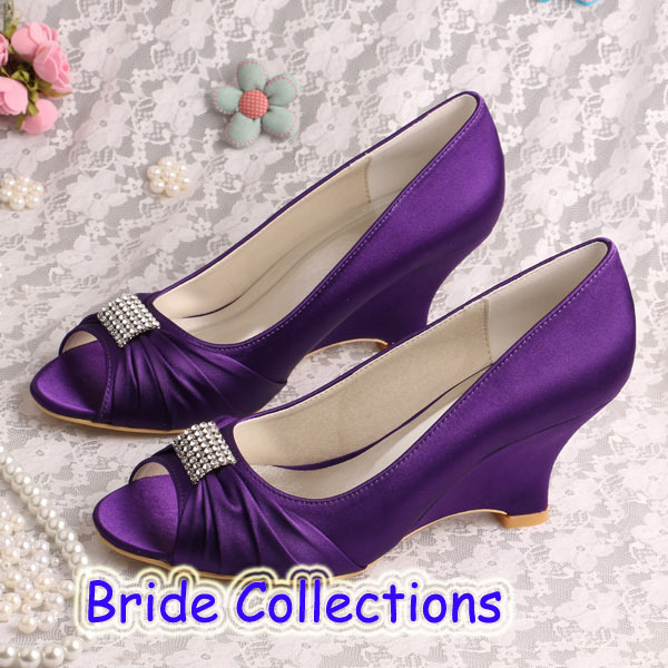 ФОТО Custom Handmade Ladies Bridal Shoes Purple 2015 Prom Wedge Heels Size 36