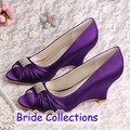 Custom Handmade Ladies Bridal Shoes Purple 2015 Prom Wedge Heels Size 36