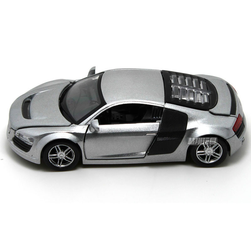 For Audi R8 Alloy Super Racing Car Model Alloy Pull Back Sport Car Model Music Light Open Door Children Toy Speed Wheels 1:32 image