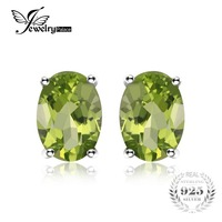 Genuine 1 6ct Natural Green Peridot Oval Cut Solid 925 Sterling Silver Stud Earrings For Women