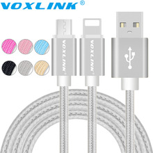 Voxlink USB Cables for iphone 6S 5s Micro USB Data Cable For iphone 6 Plus Samsung S7 S6 Edge Plus S5 Braided Metal Fast Charge