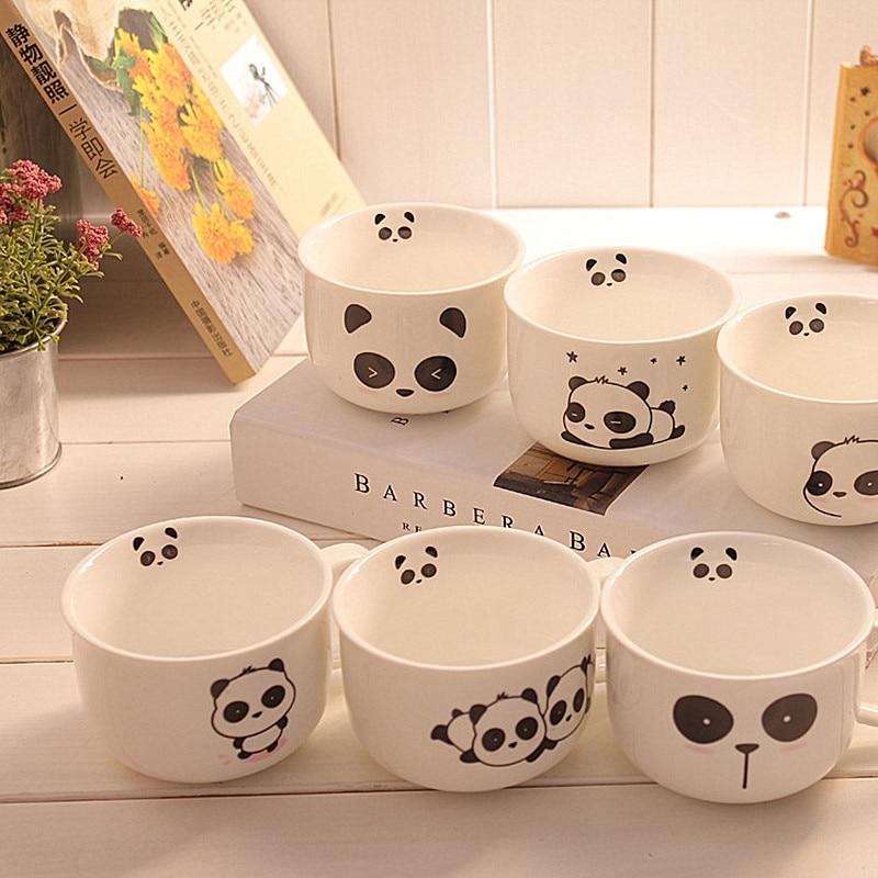 4pcs Lovely Cute 220ML Small Cartoon Panda Coffee Ceramic Mug Mix Designs Home Use Tea Coffee Mugs Ceramic Panda Cups
