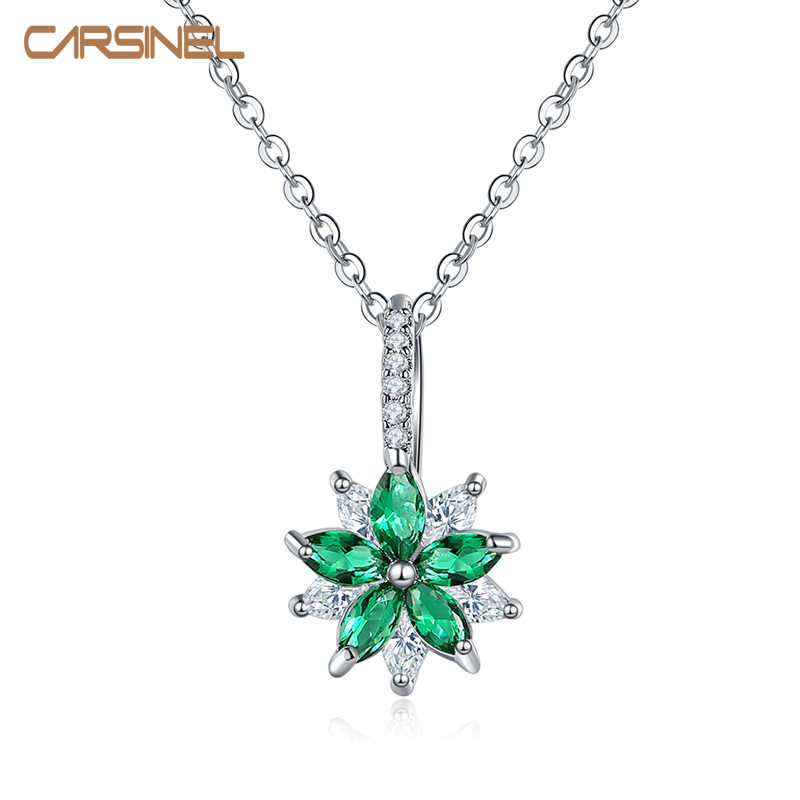 CARSINEL Brand Colorful Cubic Zircon Pendant Necklace For Women Silver color Romantic Wedding Necklace NE0352