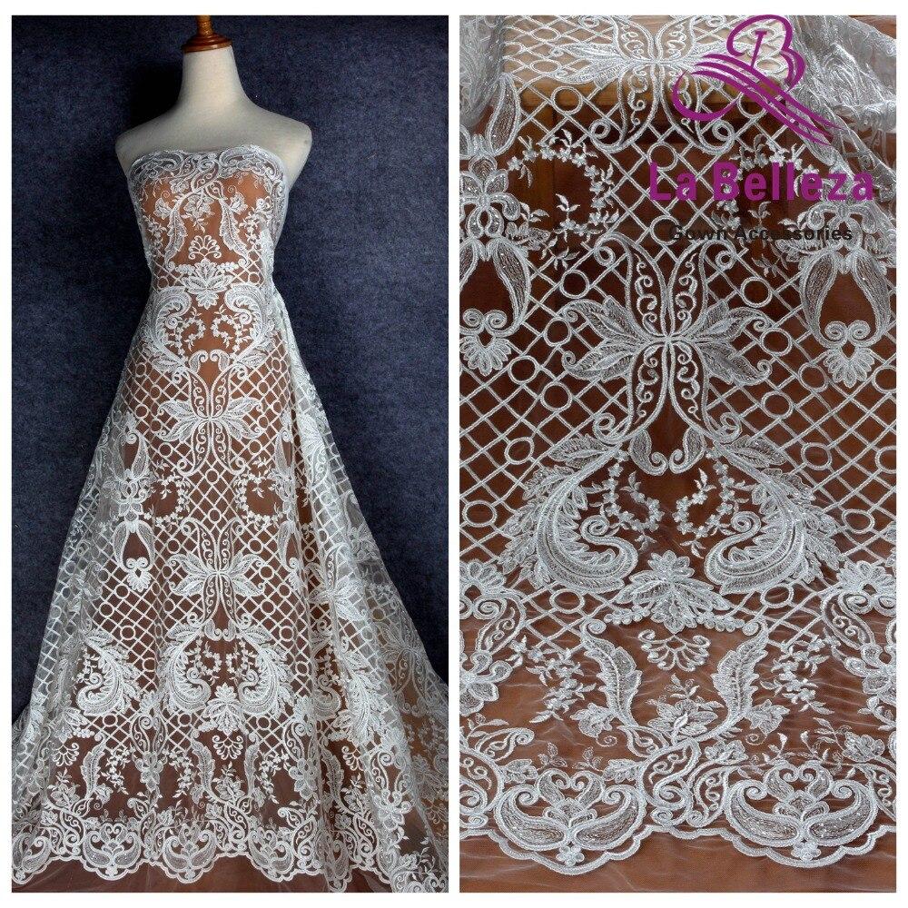 La Belleza 2019 Новый шнур блестки кружева ткань высокого качества свадебное платье кружева 51 ''ширина 1 ярд