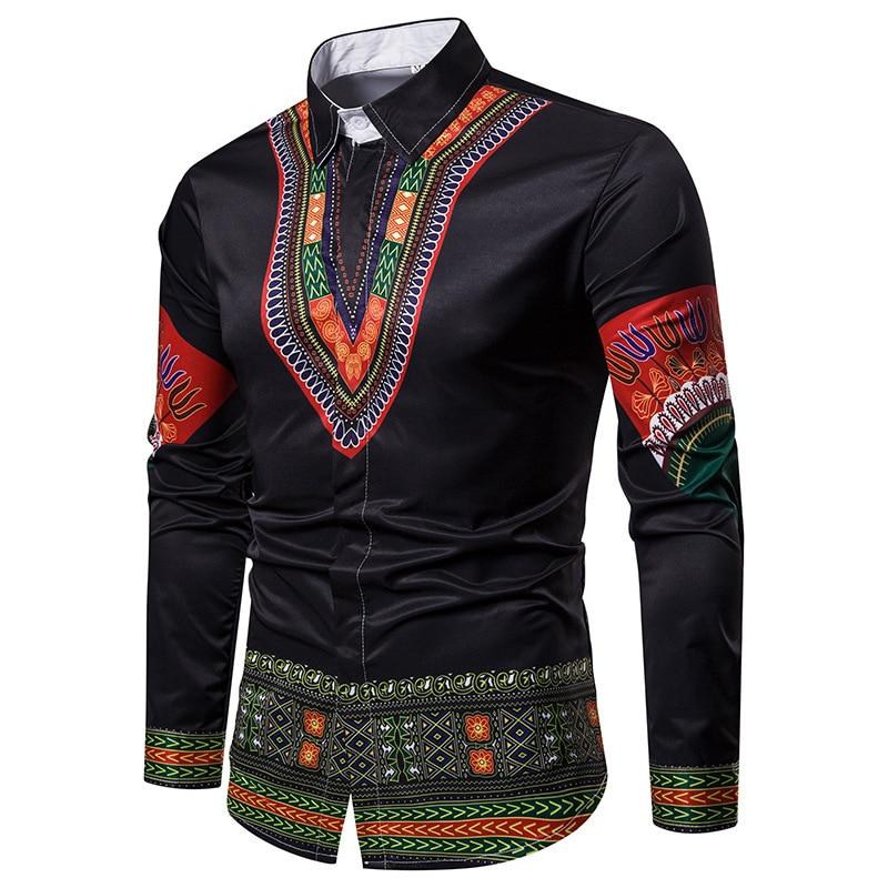100% Waar Afrikaanse Dashiki Shirt Mannen Kleding 2018 Brand New Slim Fit Lange Mouw Heren Dress Shirts Streetwear Shirt Mannelijke Afrika Kleding Structurele Handicaps