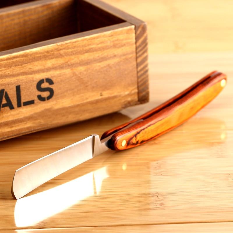1pc New Straight Edge Stainless Steel Barber Razor Folding Shaving Knife Wood Handle Hot Selling FM1077 3