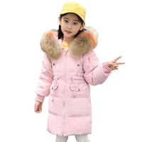 2018 Long Winter Girls Coat Thickening Warm Girls Down Coat Hooded Real Raccoon Fur Jackets Kids Overcoat RT138