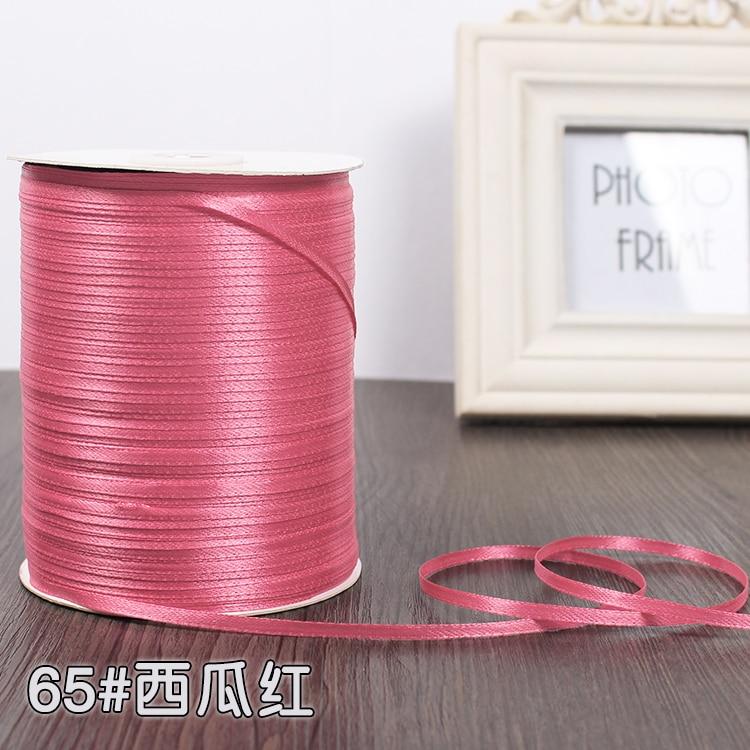 3 мм ширина бордовые атласные ленты 22 метра швейная ткань подарочная упаковка «сделай сам» ленты для свадебного украшения - Цвет: Watermelon