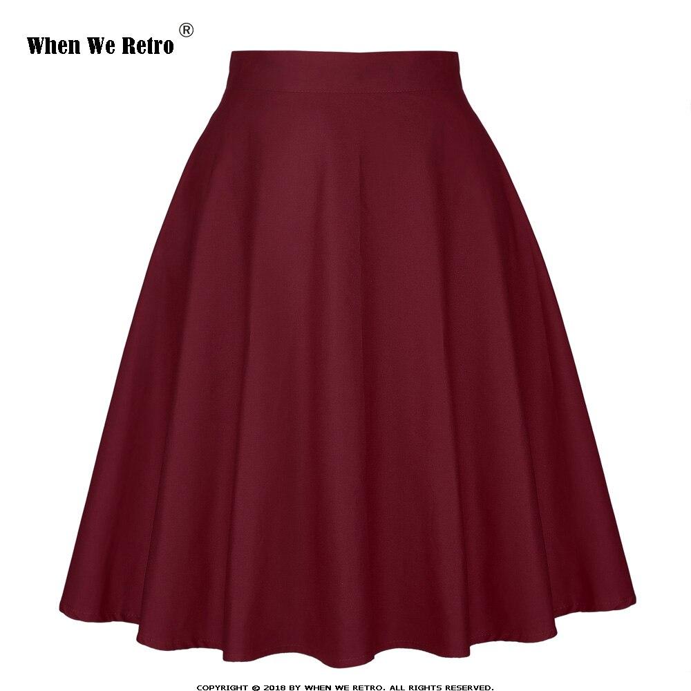 When We Retro High Waist Skirts Womens Summer Short Black Blue Red Wine Red Green Bottoms 50s 60s Vintage Skirt Saia Plus Size