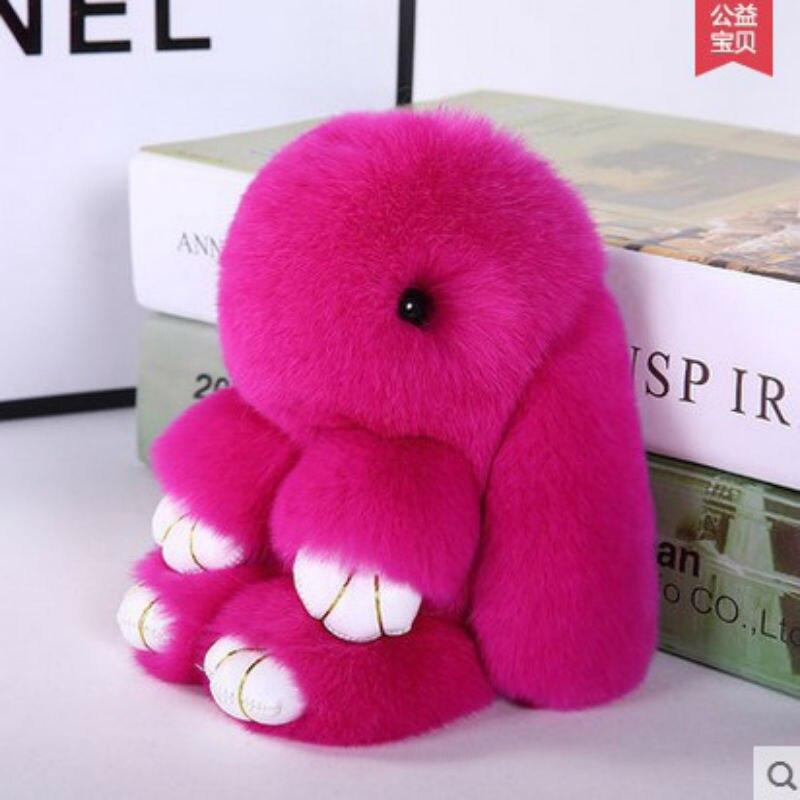 Cute Fluffy Rabbit Keychain for Women Bunny Fur Pompoms Key Chain Fur Pom Pom Keychain Bag Car Pendant Key Ring Trinkets