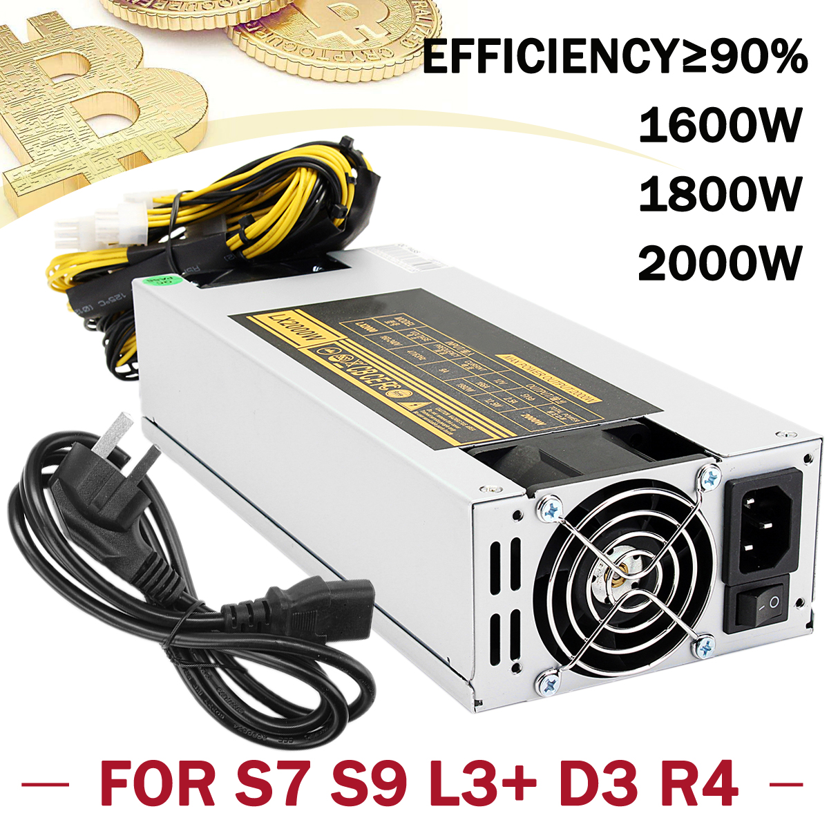 Leory 1600W/1800W/2000W Mining Power Supply Power Mining Machine Mining Rig for ETH BTC Coin For S7 S9 L3+ D3 R4