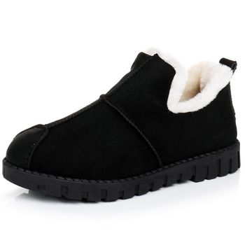 Snow Suede Ankle Boots Women Flats Winter Warm Winter Short Boots New Fashion Suede Boots Snow Women Shoes Fur Plush Suede Shoes