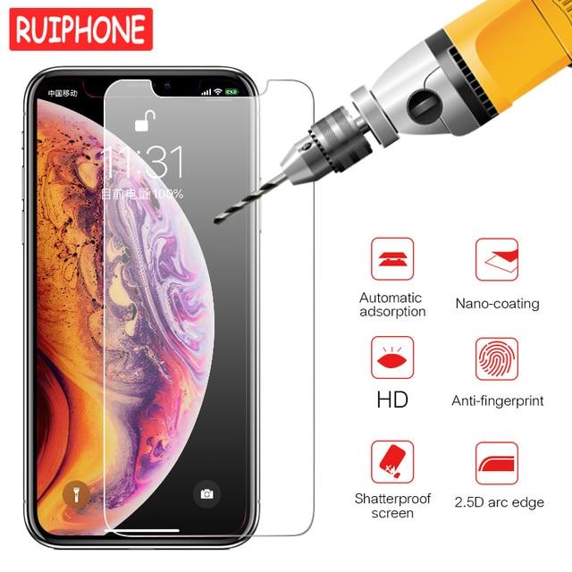 9 h 強化ガラス xs 最大 xr × 11 プロマックス保護スクリーンプロテクター iphone 6 6s 7 8 プラス 5 5 s 、 se ケース