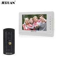 JERUAN 7 inch video doorphone speakerphone system white monitor outdoor with waterproof IR camera intercom