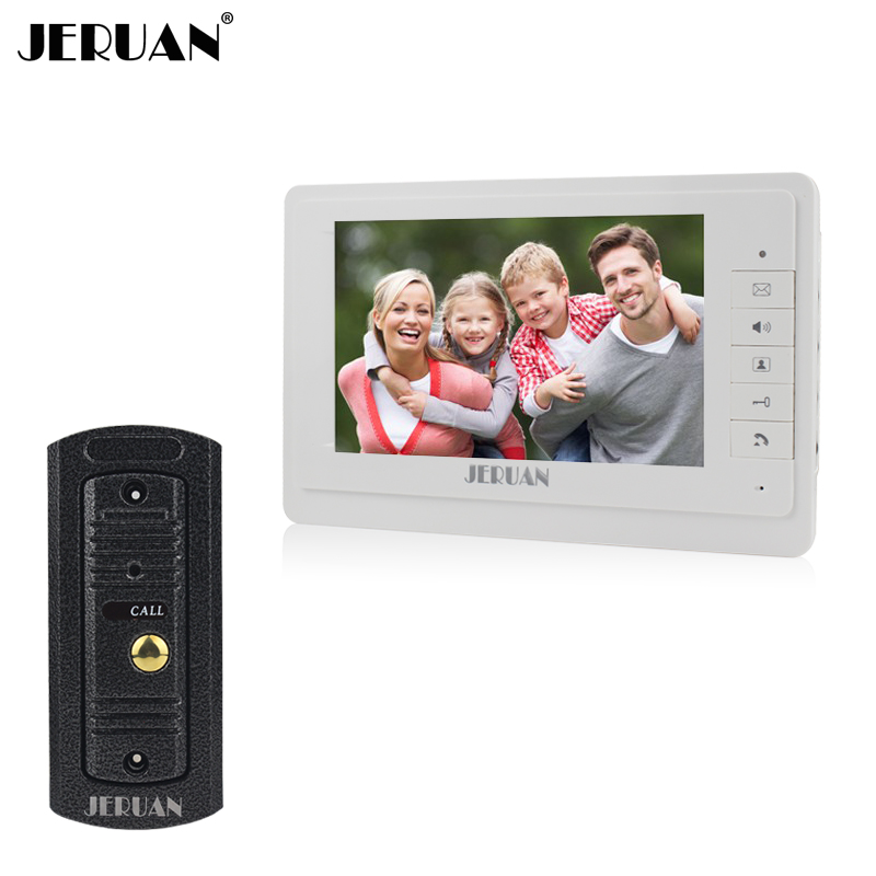 JERUAN 7`` video intercom video doorphone speakerphone intercom system white monitor outdoor with waterproof & IR camera rfid keyboard ip65 waterproof video doorphone intercom system for 3 apartments with 7 color lcd video intercom system in stock