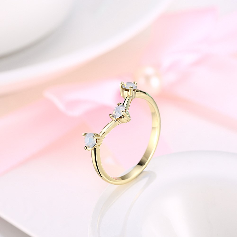 Simple Design Golden Ring for Women Fashion Opal Rings 3 White Stone ...