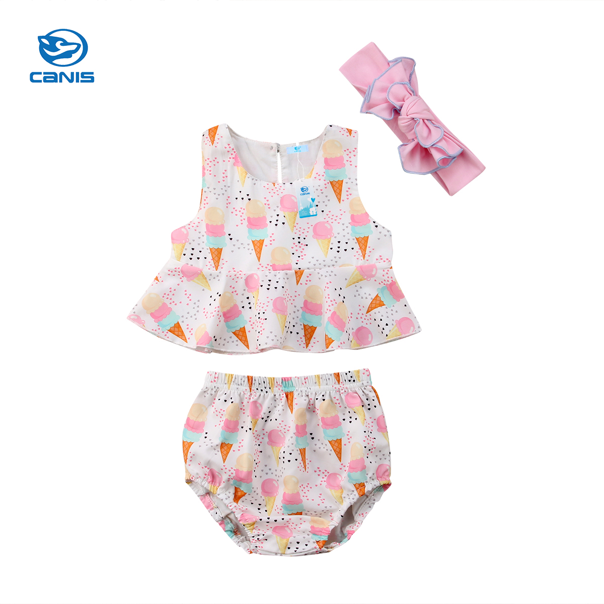 3pcs Girl Clothes Newborn Baby Girl Clothes Ice Cream Tops Briefs Shorts Outfit Sunsuit 0-24M