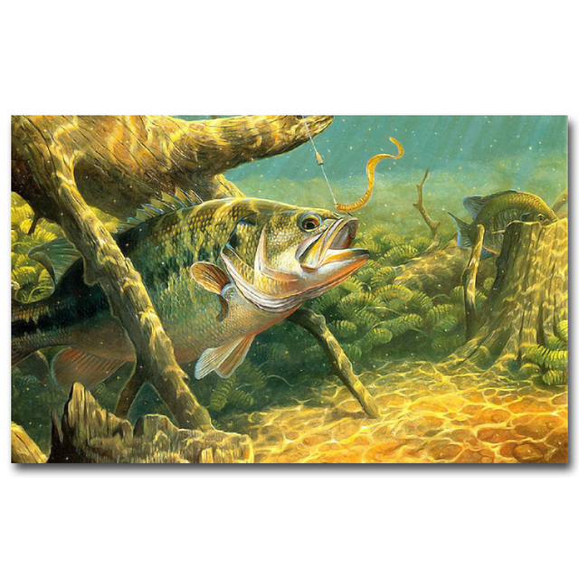 NICOLESHENTING Bass Fishing Art Silk Poster Canvas Print 13x20 16x24 Inches Sunset Lake Wall Pictures Home