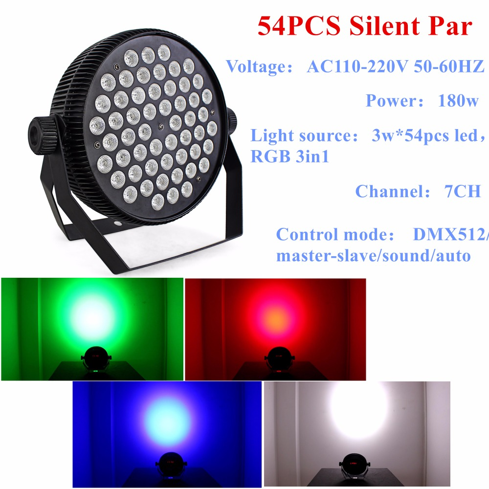 Cheap Price Hot Selling Led Par Stage DJ Lights 54pcs 3W RGB 3in1 Home Party Disco Strobe DMX512 Flat professional Lighting